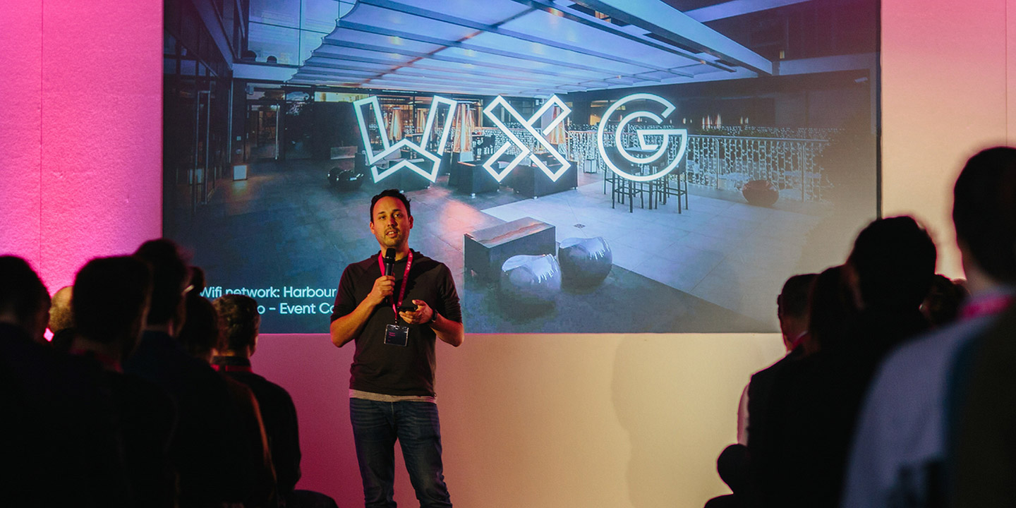 Laurent talking at WXG in 2017
