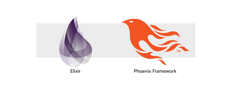 Elixir and Phoenix Framework logos