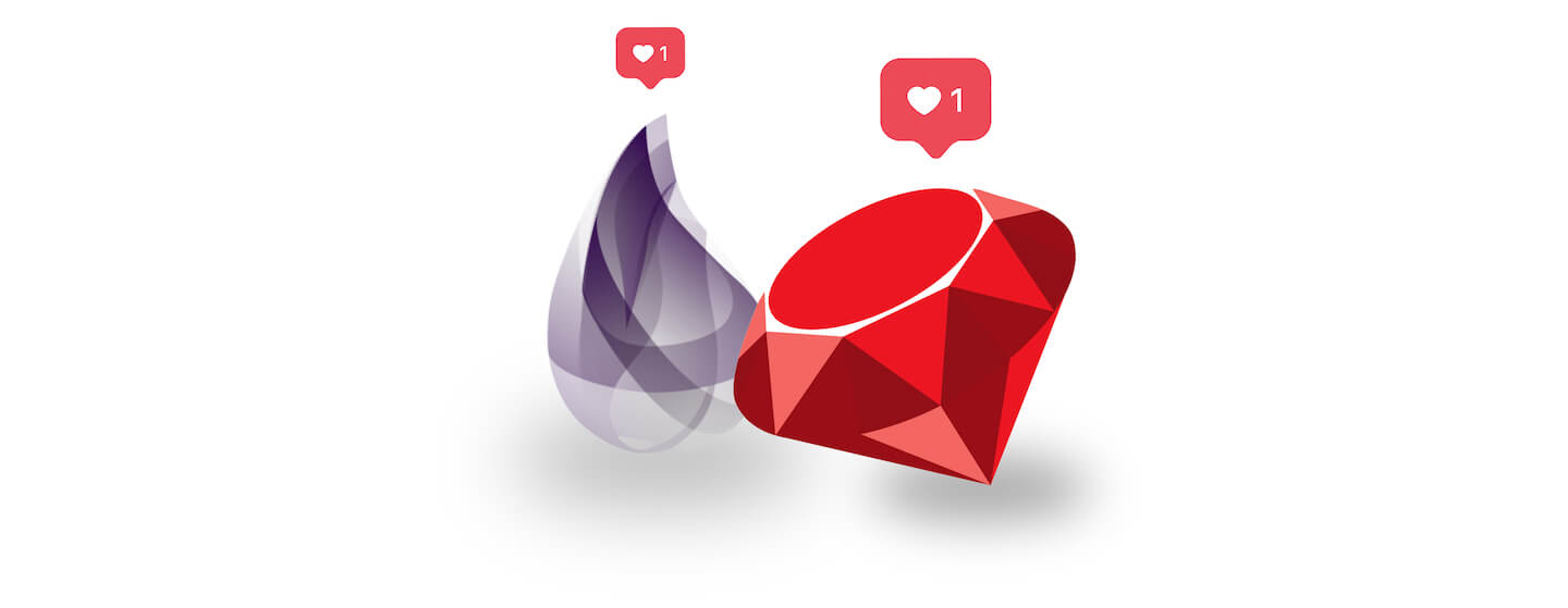Ruby and Elixir logos with heart tags